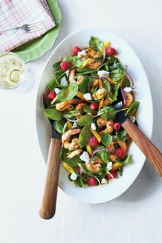 Grilled Shrimp and Spinach Salad - Main-Dish Salads - Southernliving. Recipe:Grilled Shrimp and Spinach Salad  A colorful mix of sliced mangoes, fresh raspberries, goat cheese, and of course, grilled shrimp pumps up this spinach salad.