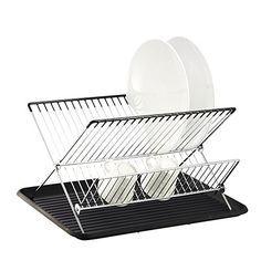 Deluxe Chrome-plated Steel Foldable X Shape 2-tier Shelf Small Dish Drainers with Drainboard (Black)