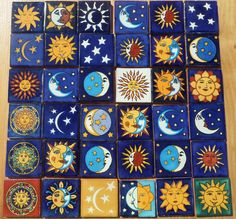 """36 Mexican Talavera Pottery 2"""" Tile Hand Painted Astronomy Sun Moon Blue CD…"""