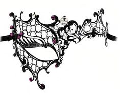 Felicia Crystal and Purple Jeweled Laser Cut Masquerade Ball Mask - A-2272P-R