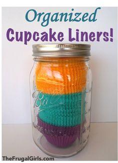 Organizing Cupcake Liners... + more fun uses for Mason Jars! #masonjars #organizing #thefrugalgirls