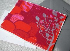 Red and violet screenprinted trees