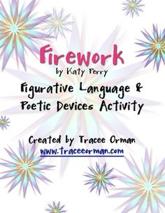 """Firework"" by Katy Perry Song Lyrics Poetry Terms Figurative Language - Tracee Orman - TeachersPayTeachers.com"