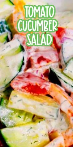 This quick and easy Creamy Tomato and Cucumber Salad is perfect for a barbecue side dish or picnic salad. This time of year it is great for those outdoor gatherings because it is cool and refreshing. Barbecue Side Dishes, Best Side Dishes, Side Dish Recipes, Creamy Cucumber Salad, Creamy Cucumbers, Best Salad Recipes, Easy Healthy Recipes, Simple Recipes, Amazing Recipes