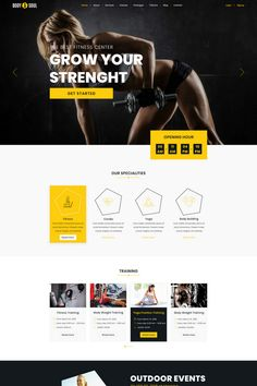 Body & Soul - Gym & Fitness PSD Template Sports Templates, Psd Templates, Fitness Centers, Web Design Software, Yoga Positions, Free Advertising, Sports Clubs, Health Club, Body And Soul
