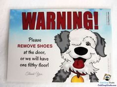 SALE!!!! Old English Sheepdog NO SHOES in the House Sign - Cute Take Off Your Shoes Home Door Signs #shopping #handmade #shoes #etsy #noshoes #germs #home #decor #sale