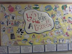 """March Bulletin Board """"50 Ways To Take A Break"""" Facts on the bottom about the benefits of resting and taking a break. #RA #ResLife #BulletinBoard"""