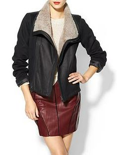 Vince Leather Motorcycle Jacket With Shearling Contrast | Piperlime $1250