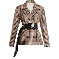 Isa Arfen Double-breasted checked cotton blazer (3 400 PLN) ❤ liked on Polyvore featuring outerwear, jackets, blazers, tops, beige multi, beige blazer, cotton jacket, double-breasted blazers, double breasted jacket and brown blazer