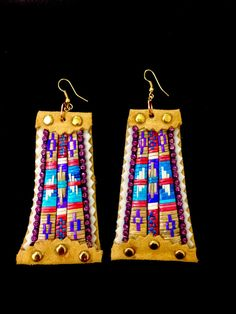 Quillwork Earrings by AlayneeGoodwill on Etsy