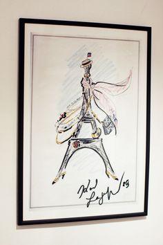 karl lagerfeld eiffel tower illustration