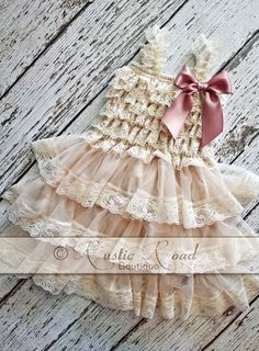 Rustic Flower Girl Dress Lace Ruffle Dress  by RusticRoadBoutique, $34.95  ..Or with the Taupe Bow? Lovely!