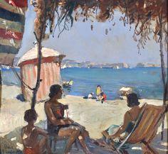 Villani Gennaro (Napoli 1885 - 1948) Baia olio su cartone, cm 33,5x34,5