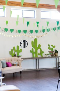 "A hip and modern baby shower with a fun ""theme"" - cactus! Would be great for a birthday or bridal shower, too!"