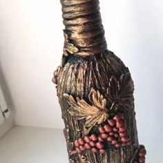"""DIY Bottle Decoration🍶💫 - By: """" By: The Effective Pictures We Offer You About makeup tren - Glass Bottle Crafts, Wine Bottle Art, Painted Wine Bottles, Diy Bottle, Glass Bottles, Decorated Wine Bottles, Diy Crafts Hacks, Diy Arts And Crafts, Jar Crafts"""