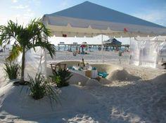 Sand sofas at beach restaurant