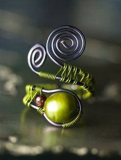 Adjustable Wirework Ring - Green Freshwater Pearl and Red Garnet in Amethyst Copper