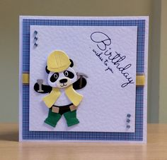 Birthday Card, Handmade - Marianne panda - For more of my cards please visit CraftyCardStuduio on Etsy.com.