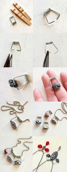 Turn Clothespins Into Wirework Jewelry. Very cute. Now gotta find something to do with the wood part. ;)