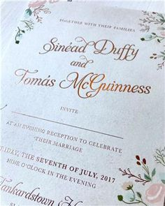 Romantic, light & bright, these venue inspired invitations for Sinead & Tomas will always make our hearts happy! Unique Wedding Invitations, Wedding Stationery, Bespoke, Rsvp, Reception, Marriage, Hearts, Place Card Holders, Romantic