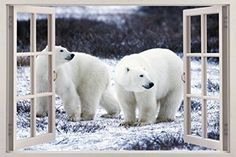 White Polar Bears 3D Window View Decal WALL STICKER Decor Art Mural Animals H114 Huge -- Check this awesome product by going to the link at the image.