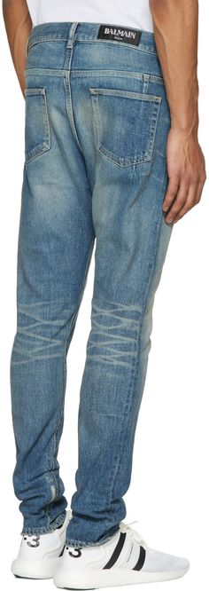 Balmain - Blue Distressed Low-Rise Jeans