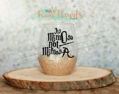 $13.50 water proof Glitter dipped Harry potter themed wine glass. Its mimOsa not mimosA. Great gift!