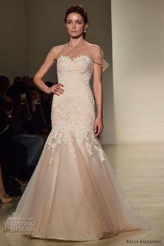 kelly faetanini fall 2016 wedding dresses bridal week runway fashion sheer one shoulder beautiful mermaid dress trumpet fit flare
