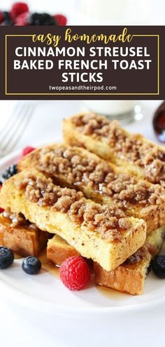 Want to make a special breakfast treat for back to school season? These homemade Cinnamon Streusel Baked French Toast Sticks are a winner! Served alone or with maple syrup, kids and adults will be requesting this easy recipe time and time again after you try it! Delicious Breakfast Recipes, Savory Breakfast, Sweet Breakfast, Perfect Breakfast, Brunch Recipes, Breakfast Ideas, Delicious Food, French Toast Sticks, French Toast Bake