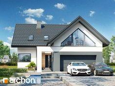 gotowy projekt Dom w jaskierkach 2 Flat House Design, Village House Design, House Front Design, Modern House Design, Modern Bungalow Exterior, Modern Bungalow House, 3d House Plans, Modern House Plans, Modern Family House
