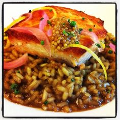 ... Salmon: Risotto, Pickled Lemon Mustard Salad, Pickled Red Onions