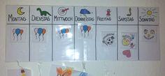 """""""Mama, ist heute Spielzeugtag?"""" Wochenplan für Kindergartenkinder (Luftballons = Sohnemanns Symbol im Kindergarten) Wurde inzwischen erweitert durch Fotos von Freunden (falls Besuch ansteht) und ähnliche Dinge..."""