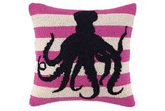Octopus 18x18 Wool Pillow, Pink on OneKingsLane.com