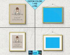 11x14 #W03 Fine Gold Portrait & Landscape Frame on Brick interior wall, 4 Print Display Mockups, PNG PSD PSE, Opening 28x36cm, Custom colors