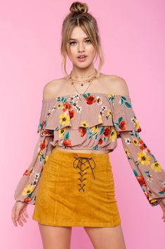 7991722dc111e7 Spring Floral Flounce Off Shoulder Top Crop Blouse