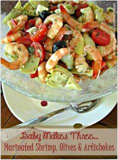 Marinated Shrimp, Olives & Artichokes-recipe found here-http://www.myrecipes.com/recipe/marinated-shrimp-artichokes-50400000117057/
