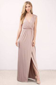 "Search ""What I Need Mauve Maxi Dress"" on Tobi.com! looking for something simple and timeless? this is the perfect comfy nude wrap elastic dress for any occasion. dress it up or dress down. bridesmaid wedding column low back simple minimal bridesmaids cute sweet timeless classy cheap affordable save money for women dresses guest stylish fashionable elegant modest maxi midi mini long"