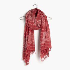 """A summer-ready scarf in a geometric update on our favorite stripes. So lightweight and easy. <ul><li>Cotton.</li><li>78 7/10""""L x 26 2/5""""W.</li><li>Hand wash.</li><li>Import.</li></ul>"""