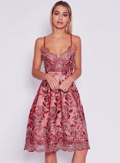 Women's Spaghetti Strap Backless Floral Lace Embroidery Party Dress OASAP.com