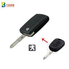 Araba Peugeot 206 Için Uzaktan Anahtar Kabuk Anahtar 2 Düğmeler Uzaktan Anahtar Davayı Çevirmek Boş Logo ile