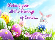 Send Easter blessings to all and wish them a Happy Easter. Free online Wishing All The Blessings Of Easter ecards on Easter Happy Easter Gif, Happy Easter Quotes, Happy Easter Wishes, Happy Easter Sunday, Happy Easter Greetings, Easter Funny, Easter Art, Easter Crafts, Easter Food