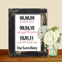 Wedding sign 8x10 print our love story he by RusticElegance18, $10.00