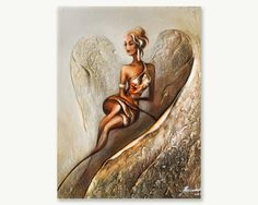 Angel Painting on canvas by Raen Textured Gold Oil Painting on canvas , Gold Wall Art , Modern Art Deco Painting by OilPaintingsRaen on Etsy