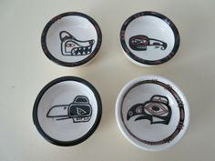 "VINTAGE FIVE PIECES WEST COAST FIRST NATIONS ""LAMBERT"" POTTERY 