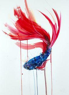 Dave White – Aquatic @ Lawrence Alkin Gallery, London - Siamese Fighting Fish II, 2013 Watercolour on Fabriano Artistico 610gm (76 x 56 cm)