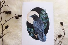 """Raven"" mixed media painting"