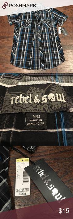Checkered blue button down tshirt Brand new Rebel & Soul checkered blue button down shirt, nwt. Size medium rebel & soul Shirts Casual Button Down Shirts