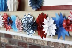 of July garland,, etc. from Landee See, Landee Do: Paper Fireworks Patriotic Crafts, Patriotic Party, 4th Of July Party, July Crafts, Summer Crafts, Fourth Of July, 4th Of July Wreath, Holiday Crafts, Holiday Fun
