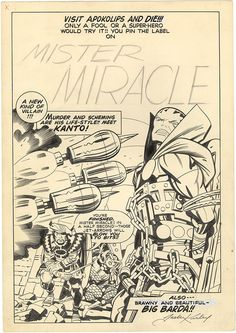 Gallery of Comic Art by Jack Kirby : Mister Miracle, Issue 7, Unused Cover : What if Kirby