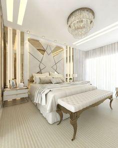 Modern Luxury Bedroom, Luxury Bedroom Design, Bedroom Furniture Design, Luxurious Bedrooms, Room Decor Bedroom, Home Bedroom, House Ceiling Design, Pooja Room Design, Luxury Homes Interior